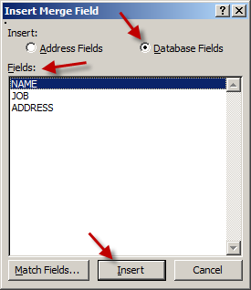 Create Invitation Labels: Mail Merge Wizard - Insert Database Fields