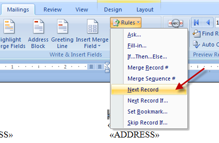 Create Invitation Labels: Mail Merge Wizard - Insert Next Record