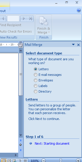 Create Invitation Labels: Mail Merge Wizard Screen