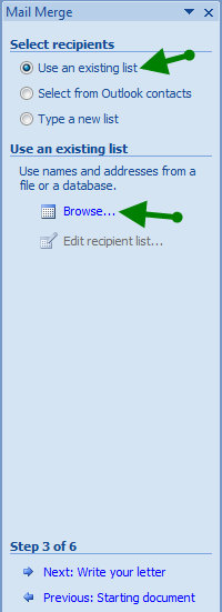 Create Invitation Labels: Mail Merge Wizard - Select Recipients